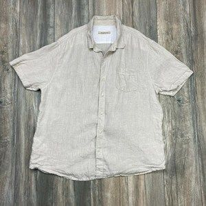 Tommy Bahamas Beige Button up Shirt 100% Linen